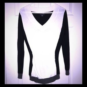 Metaphor Black White Colorblock Sweater